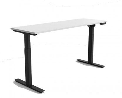 Attēls no 2-Stage Single Motor Electric Sit-Stand Desk Frame with Button Control Panel black frame, Table Top