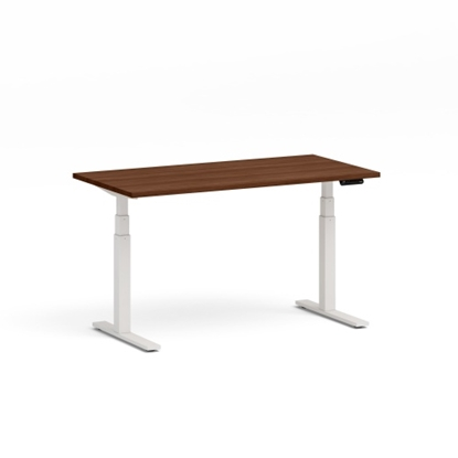Изображение Height adjustable table Up Up, white frame, electric 1 motor height adjustment, 2-stage, dark walnut tabletop 1500x750mm