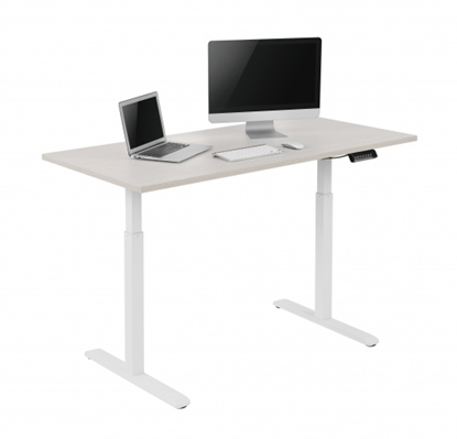 Attēls no 2-Stage Single Motor Electric Sit-Stand Desk Frame with Button Control Panel white frame, Table Top