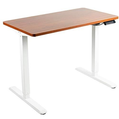 Изображение Height adjustable table Up Up, white frame, electric 1 motor height adjustment, 2-stage, dark walnut tabletop 1200x750mm