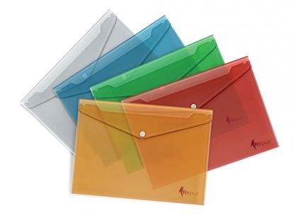 Attēls no Aplankas-vokelis su spaude Forpus, A4, plastikinis, geltonas, skaidrus 0820-008