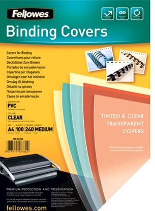 Picture of Fellowes Binding Covers A4 Clear PVC   240 Mikron