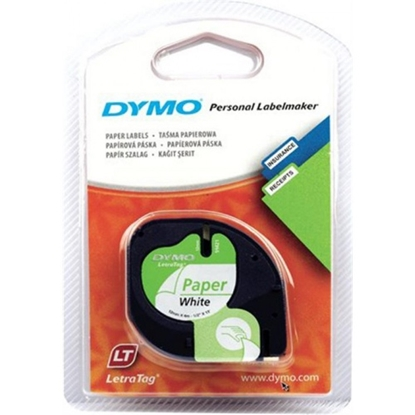 Изображение Dymo Letratag Paper tape white 12mm x 4 m           91220