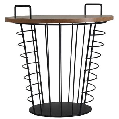 Attēls no Kafijas galds-grozs 4Living metāla ar koku 37x37cm melns