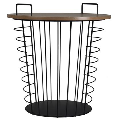 Attēls no Kafijas galds-grozs 4Living metāla ar koku 44x45cm melns