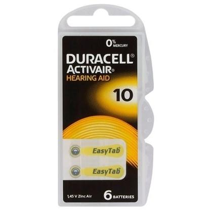 Attēls no BATZA10.D6; 10 baterijas 1.45V Duracell Zn-Air PR70 iepakojumā 6 gb.