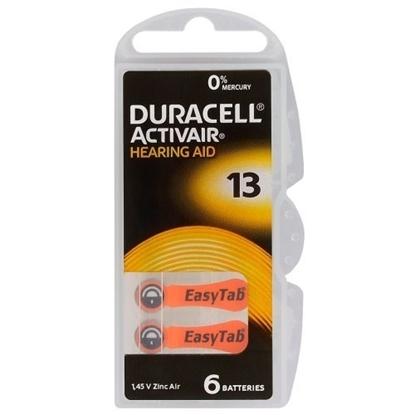 Attēls no BATZA13.D6; 13 baterijas 1.45V Duracell Zn-Air PR48 iepakojumā 6 gb.