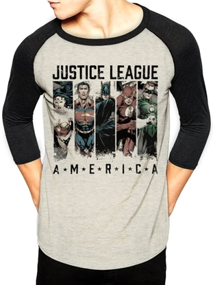Изображение Baseball 3/4 Shirt Justice League - America, Biege/Black Size L