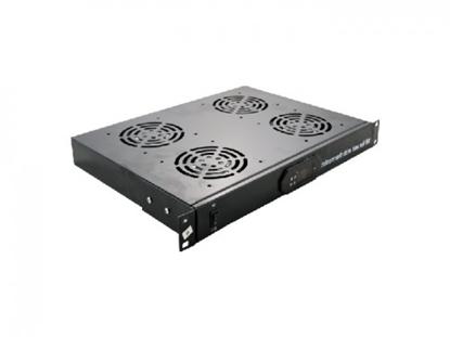 """Изображение 1U četru ventilatoru bloks 19"""" komutācijas skapim, ar LCD displeju un termostatu"""