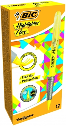 Изображение BIC Highlighter FLEX, 1-4 mm, yellow, Pouch 12 pcs 448919