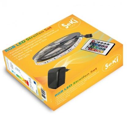 Изображение Krasainas RGB 300LEDs 12V LED Lentas komplekts ar pulti un vadibas bloku. 5 metri
