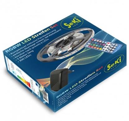 Attēls no Krāsainas RGBW 300LEDs 12V LED Lentas komplekts ar pulti un vadības bloku. 5 metri
