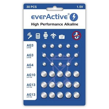 Изображение Mini alkaline battery Set everActive 10 x G3 / LR41, 5 x G4 / LR626, 5 x G10 / LR1130, 10 x G13 / LR1154