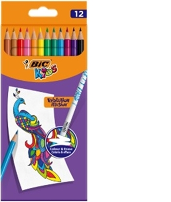 Attēls no BIC Kids Evolution Illusion erasable pencil crayons box of 12 pcs