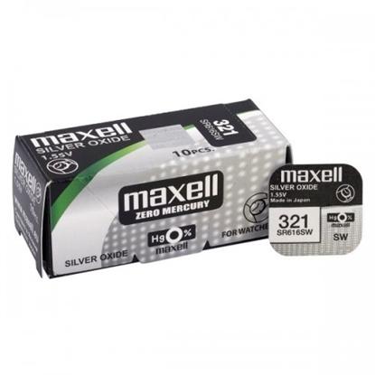 Attēls no BAT321.MX1; 321 baterijas 1.55V Maxell sudraba-oksīda SR616SW iepakojumā 1 gb.