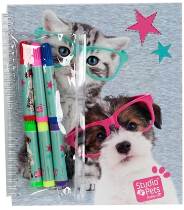 Изображение Paso PEK-3812 Studio Pets Set of Sticker Book and Coloring cards with felt pens
