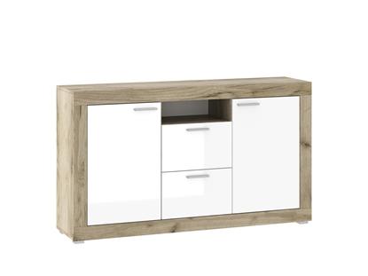 Изображение Tuckano Chest of drawers KH-150 117x90x37 WARSAW grey craft oak / white gloss