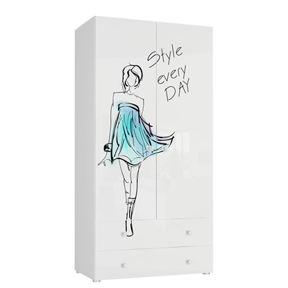 Picture of Tuckano Wardrobe with 2 drawers 100x201x55 BELLA 05 white/white gloss/model print