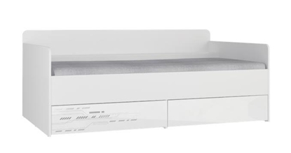 Изображение Tuckano Bed with 2 drawers 194x80x94 SPACESHIP 12 white/white gloss/code print