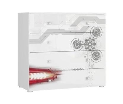 Изображение Tuckano Chest of 4 drawers 100x93x47 SPACESHIP 06 white/white gloss/gear print