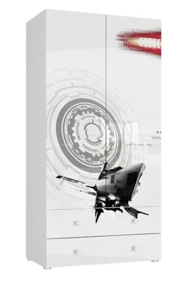 Изображение Tuckano Wardrobe with 2 drawers 100x201x55 SPACESHIP 05 white/white gloss/spaceship print