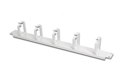 """Attēls no 19"""" Cable metal management panel 5x rings light gray, 40x60mm"""