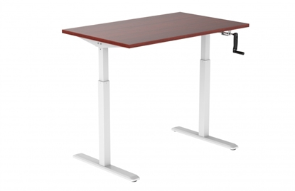 Изображение Height adjustable table Up Up, white frame, manual height adjustment, 2-stage, dark walnut tabletop 1200x750mm