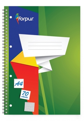Изображение Exercise book with spiral Forpus, A4/70, Squared, soft cover 0722-003