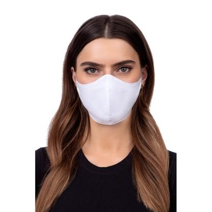 Picture of TakeMe Profilēta 1-slāņa Mazgājama un Atkārtoti lietojama sejas maska ar mīkstām siksnām un kabatu papildu slānim Balta