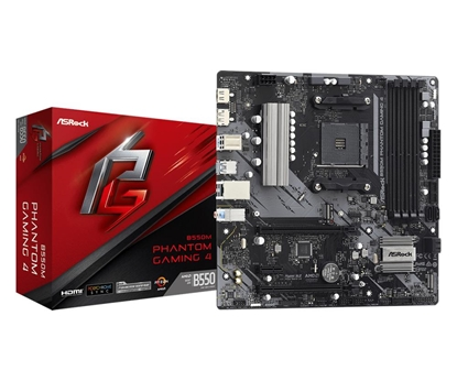 Picture of Mainboard|ASROCK|AMD B550|SAM4|MicroATX|1xPCI-Express 3.0 1x|1xPCI-Express 3.0 4x|2xM.2|1xPCI-Express 4.0 16x|Memory DDR4|Memory slots 4|1xHDMI|1xDisplayPort|2xAudio-In|1xAudio-Out|2xUSB 2.0|4xUSB 3.2