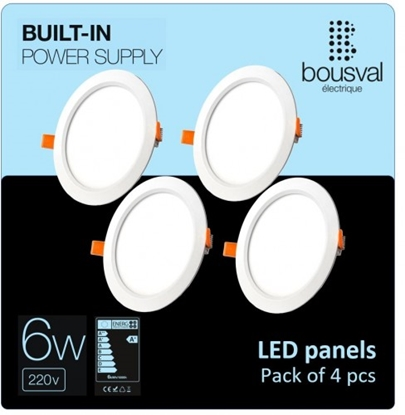 Изображение Komplekts 4 gabali apaļas formas LED paneļi 6W 4000K 120x29mm ar iebūvētu vadības bloku