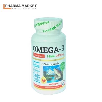 Attēls no PMS Uztura bagātinātājs Zivju eļļa Omega-3 1000 mg + E vitamīns 60.gab kapsulas