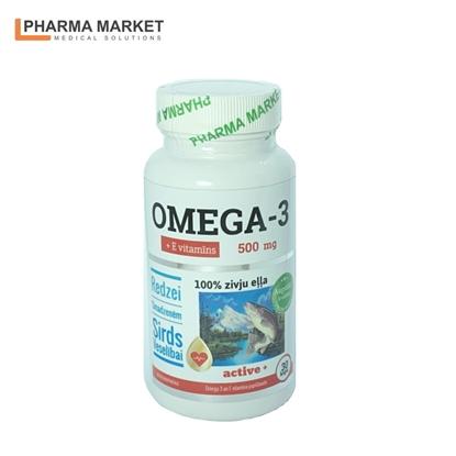 Изображение PMS Uztura bagātinātājs Zivju eļļa Omega-3 500 mg + E vitamīns 30.gab kapsulas