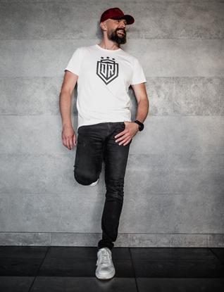 Attēls no Dinamo - Men's T-SHIRT «DINAMO» WITH BLACK PRINTING XS White