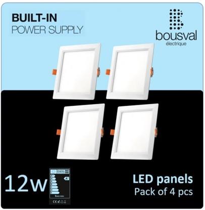 Изображение Komplekts 4 gabali kvadrātformas LED panelis 12W 3000K 170x170x29 ar iebūvētu barošanas bloku