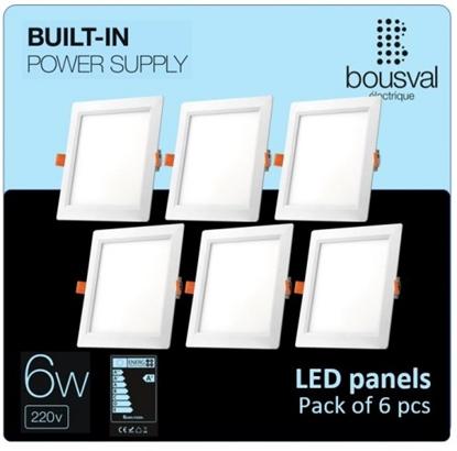 Изображение Komplekts 6 gabali kvadrāt formas LED paneļi 6W 4000K 120x120x29mm ar iebūvētu vadības bloku