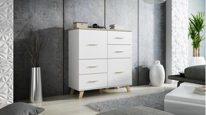 Picture of Cama Sideboard LOTTA 110 2D4S white/sonoma oak