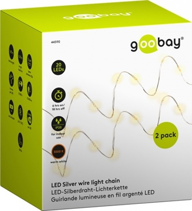Attēls no 2 X Goobay LED dekoratīvā virtene, gaismas krāsa silti balta, ar taimeru