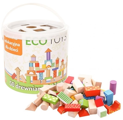 Attēls no EcoToys 50 Set of wooden blocks with a bucket