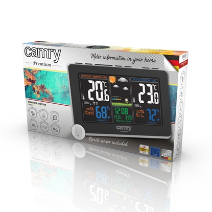 Attēls no Camry Weather station CR 1174 Black, Colorful digital display, Remote sensor