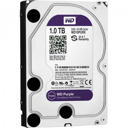 Изображение 1.0TB Atmiņas HDD, SATA disks, Purple series, Western Digital