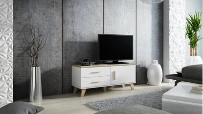 Picture of Cama RTV stand LOTTA 120cm white + sonoma oak