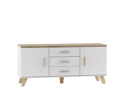 Attēls no Cama sideboard LOTTA 150 2D3S white + sonoma oak