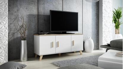 Attēls no Cama sideboard LOTTA 150 3D white + sonoma oak