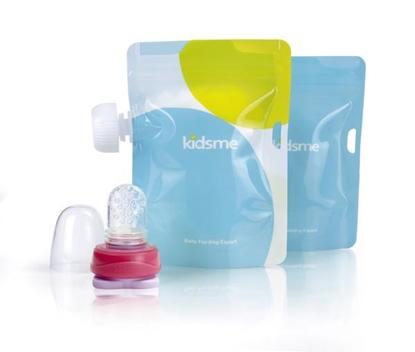 Изображение Akcija! Kidsme Food Pouch ar adapteri mazuļa ēdināšanai no biezenīšu stāvpakām 2 gab, Lavender