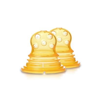 Изображение Akcija! Kidsme Food Squezeer patentēts silikona uzgalis ar lieliem caurumiem pusšķidrai pārtikai, 2 gab., no 4 mēn.