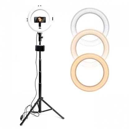 Picture of CP 10x LED Selfie 25cm Gredzena Lampa ar galda statīvu 130cm un galda statīvu + Universāls telefona stiprinājums