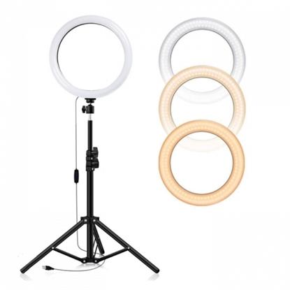 Picture of CP 6x LED Selfie 16cm Gredzena Lampa ar galda statīvu 50cm un galda statīvu + Universāls telefona stiprinājums