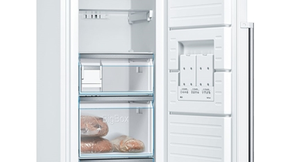 Attēls no Bosch Freezer GSN36AWEP Energy efficiency class E, Free standing, Upright, Height 186 cm, No Frost system, Display, 39 dB, White