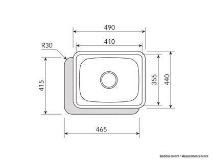 Picture of CATA Sink CSS 1 Undermount, Square, Number of bowls 1, Stainless steel, Stainless steel